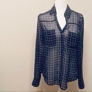 Express Portofino Shirt- Sheer-Blue Plaid- Small